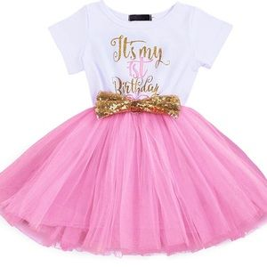 Baby Girl 1st Birthday Sequin Tutu White Dress